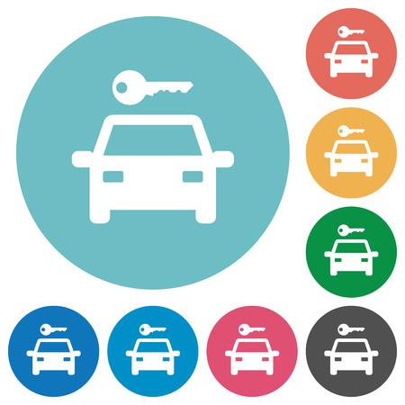Alquiler de coches iconos planos blancos sobre fondos de color redondos Ilustración de vector
