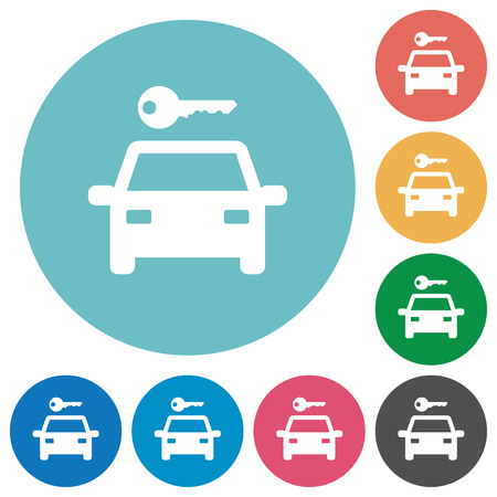 Car rental flat white icons on round color backgrounds