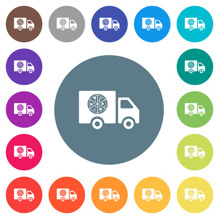 Pizza delivery truck flat white icons on round color backgrounds. 17 background color variations are included. Illustration