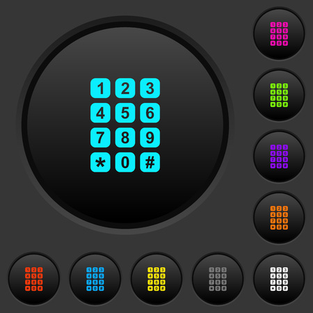 Numeric keypad dark push buttons with vivid color icons on dark grey background