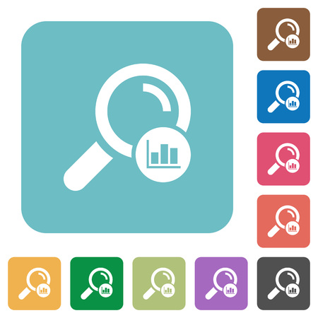Search statistics white flat icons on color rounded square backgrounds