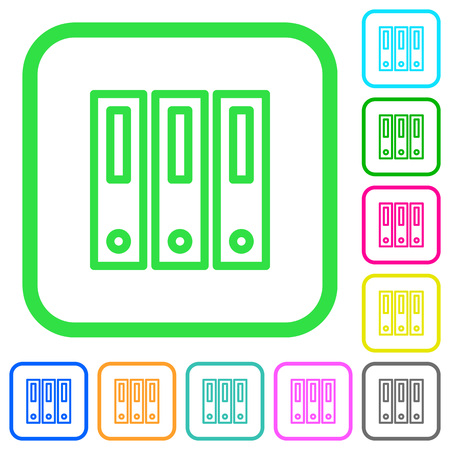 Binders vivid colored flat icons in curved borders on white background Vettoriali