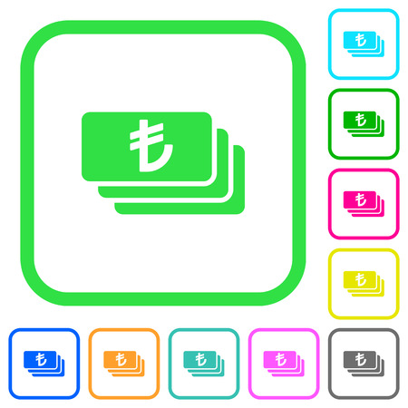 Turkish Lira banknotes vivid colored flat icons in curved borders on white background Illustration
