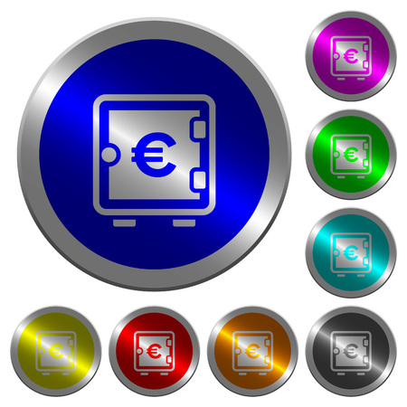 Euro strong box icons on round luminous coin-like color steel buttons