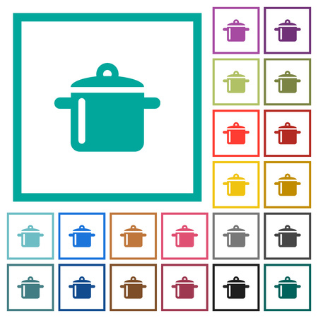 Cooking flat color icons with quadrant frames on white background