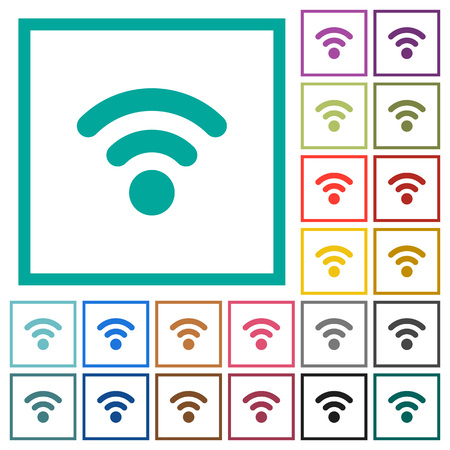 Radio signal flat color icons with quadrant frames on white background Ilustrace