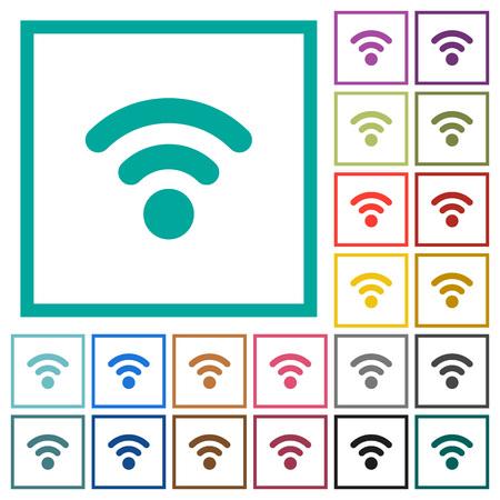 Radio signal flat color icons with quadrant frames on white background Illustration
