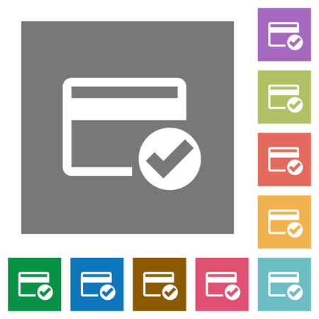 Credit card verified flat icons on simple color square backgrounds Ilustrace