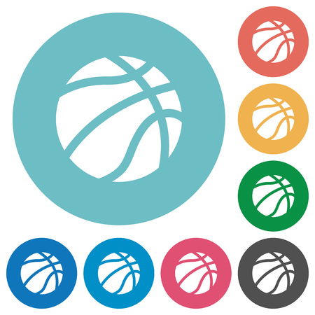 Basketball flat white icons on round color backgrounds