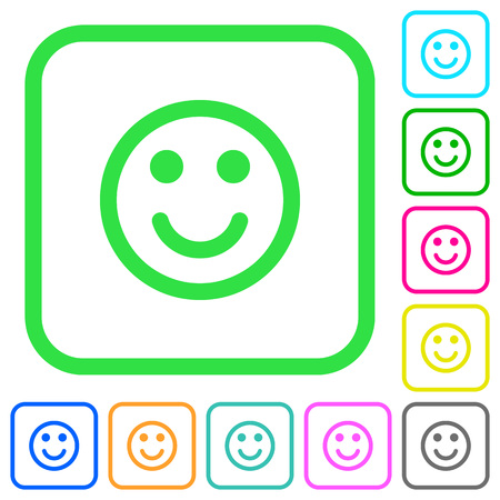 Smiling vivid colored flat icons in curved borders on white background