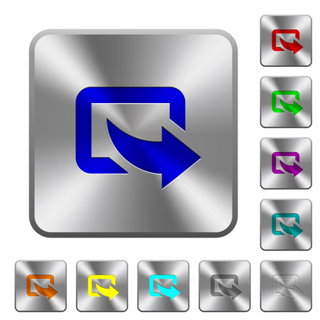 Export symbol with bottom right arrow engraved icons on rounded square glossy steel buttons