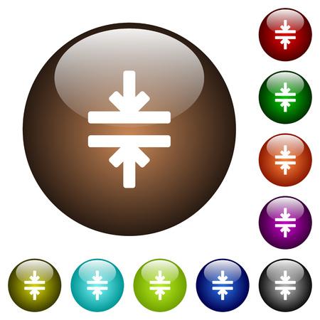Horizontal merge tool white icons on round color glass buttons Фото со стока - 111566500
