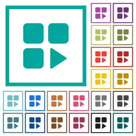 Component play flat color icons with quadrant frames on white background Illusztráció