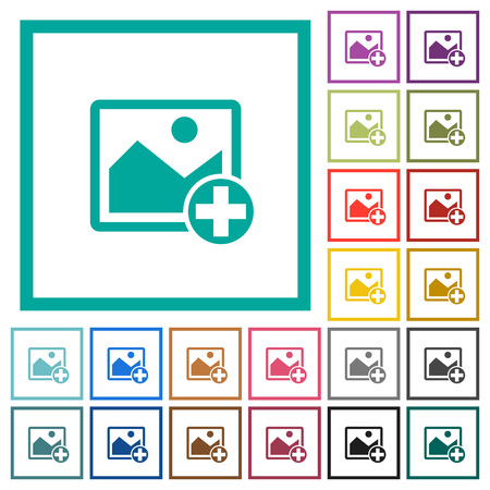 Add new image flat color icons with quadrant frames on white background