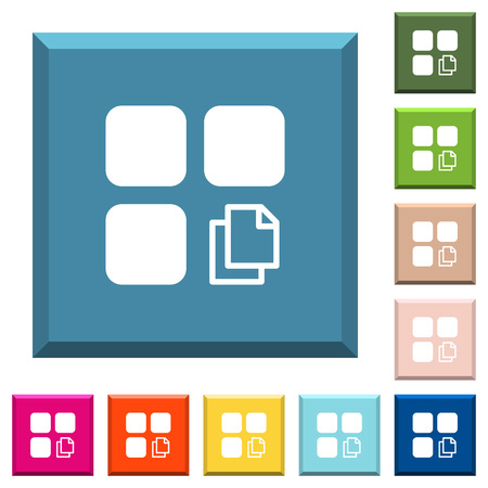 Copy component white icons on edged square buttons in various trendy colors