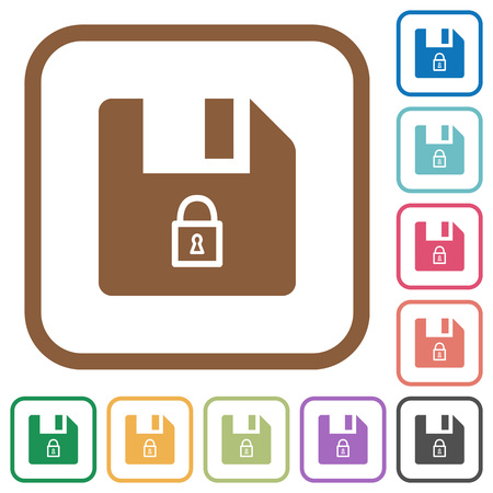 Lock file simple icons in color rounded square frames on white background Çizim