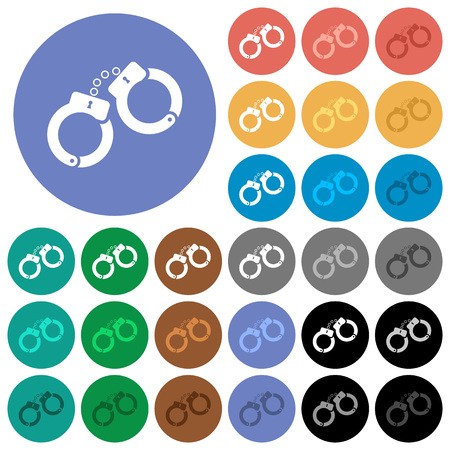 Handcuffs multi colored flat icons on round backgrounds. Included white, light and dark icon variations for hover and active status effects, and bonus shades. Illustration