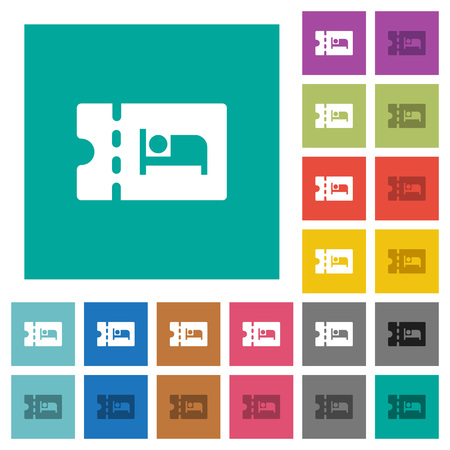 accommodation discount coupon multi colored flat icons on plain square backgrounds. Included white and darker icon variations for hover or active effects.  イラスト・ベクター素材