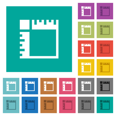 Canvas rulers multi colored flat icons on plain square backgrounds. Included white and darker icon variations for hover or active effects. Banque d'images - 107186542