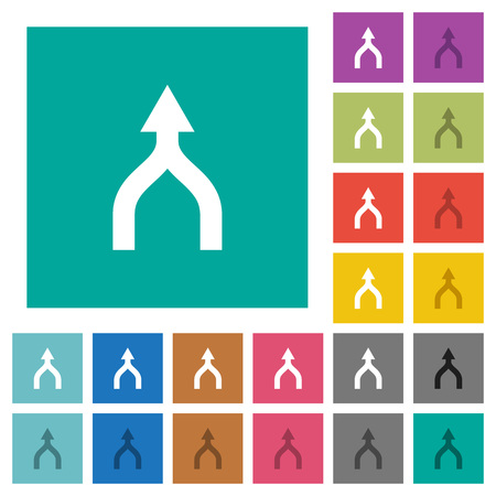 Merge arrows up multi colored flat icons on plain square backgrounds. Included white and darker icon variations for hover or active effects. Archivio Fotografico - 107186549