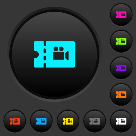 Movie discount coupon dark push buttons with vivid color icons on dark grey background