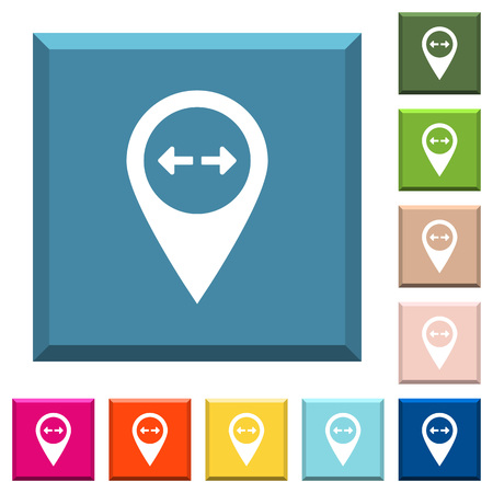 GPS map location distance white icons on edged square buttons in various trendy colors