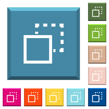 Send element to back white icons on edged square buttons in various trendy colors