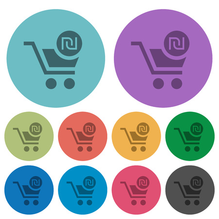 Checkout with new Shekel cart darker flat icons on color round background Stockfoto - 111566586