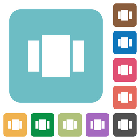 View carousel white flat icons on color rounded square backgrounds Illustration