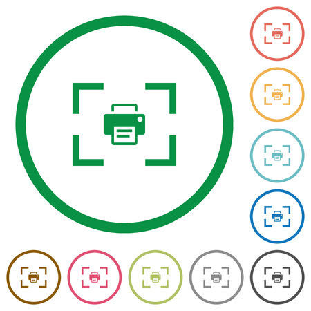 Camera print image flat color icons in round outlines on white background