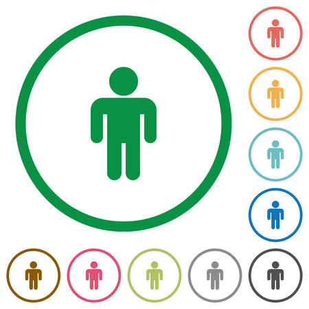 Male sign flat color icons in round outlines on white background