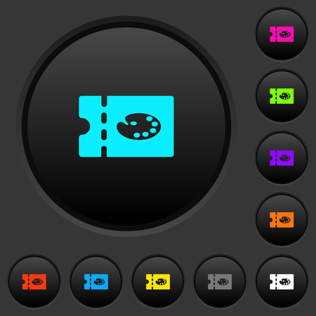 Paint shop discount coupon dark push buttons with vivid color icons on dark grey background