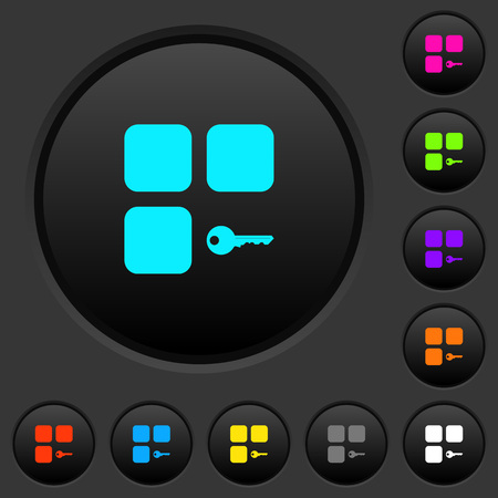 Secure component dark push buttons with vivid color icons on dark grey background 向量圖像