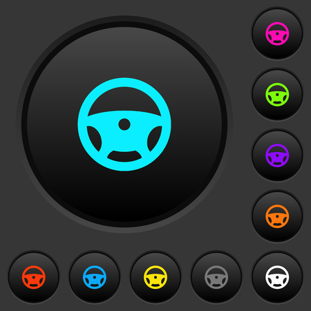 Steering wheel dark push buttons with vivid color icons on dark grey background Иллюстрация