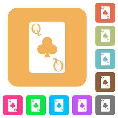 Queen of clubs card flat icons on rounded square vivid color backgrounds.