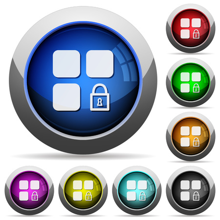Lock component icons in round glossy buttons with steel frames