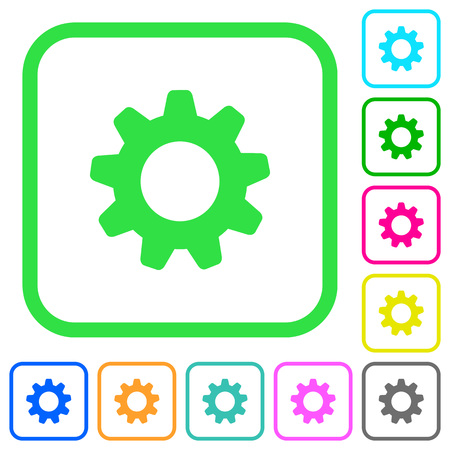 Settings vivid colored flat icons in curved borders on white background Векторная Иллюстрация