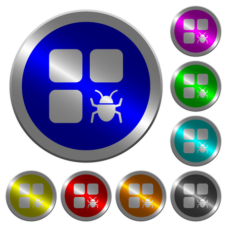 Component bug icons on round luminous coin-like color steel buttons