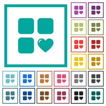 Favorite component flat color icons with quadrant frames on white background