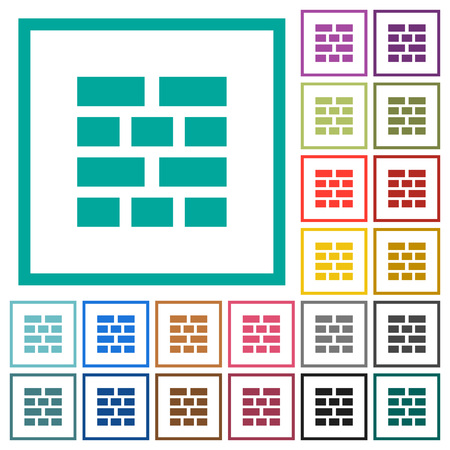 Brick wall flat color icons with quadrant frames on white background Illustration
