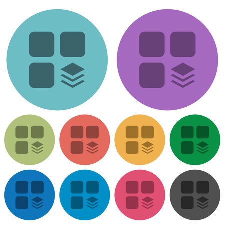 Multiple components darker flat icons on color round background