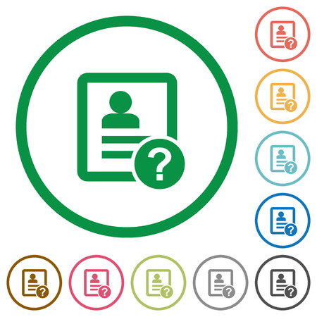 Unknown contact flat color icons in round outlines on white background Banque d'images - 107208656