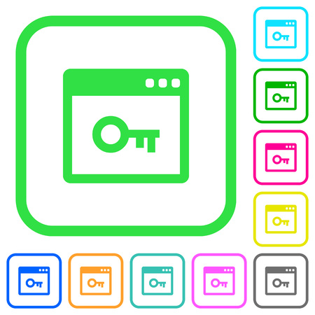 Lock application vivid colored flat icons in curved borders on white background