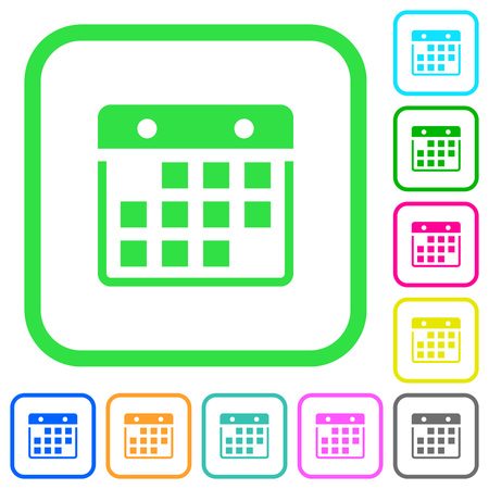 Hanging calendar vivid colored flat icons in curved borders on white background