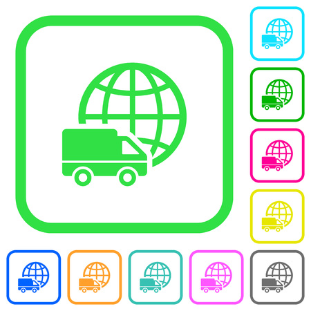 International transport vivid colored flat icons in curved borders on white background