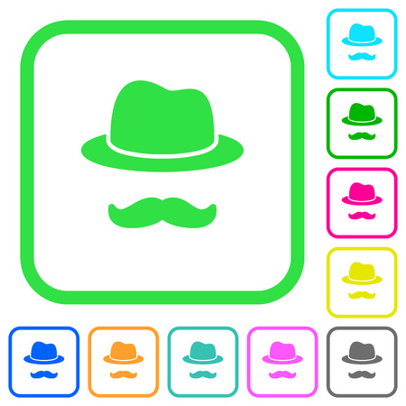 Incognito with mustache vivid colored flat icons in curved borders on white background