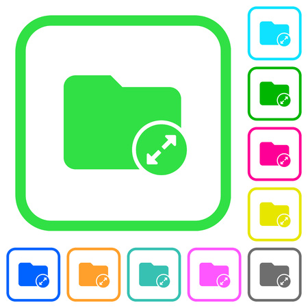 Uncompress directory vivid colored flat icons in curved borders on white background