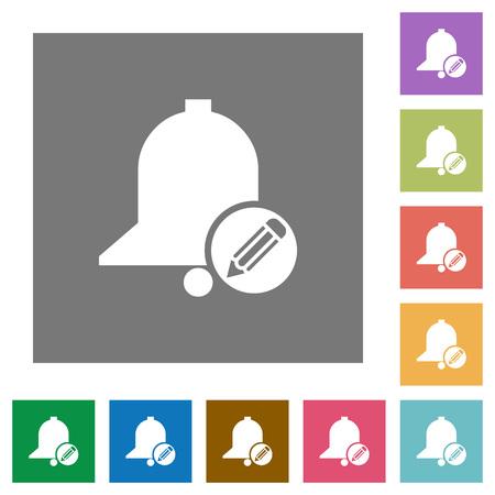 Modifier les icônes plates de rappel sur des arrière-plans carrés de couleur simple
