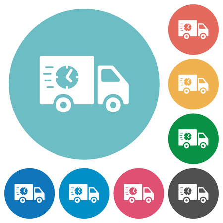 Fast delivery truck flat white icons on round color backgrounds Illustration