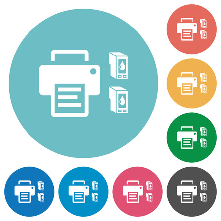 Printer and ink cartridges flat white icons on round color backgrounds 向量圖像